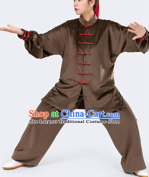 Traditional Chinese Tai Chi Competition Deep Brown Velvet Outfits Martial Arts Stage Performance Costumes for Women