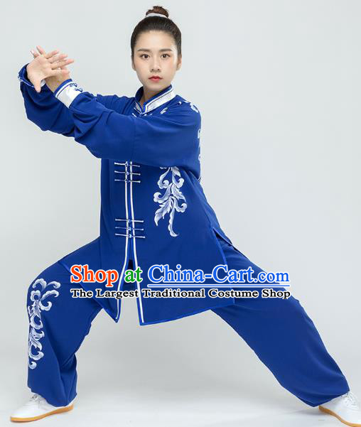 Traditional Chinese Tai Chi Kung Fu Blue Outfits Martial Arts Stage Performance Costumes for Women