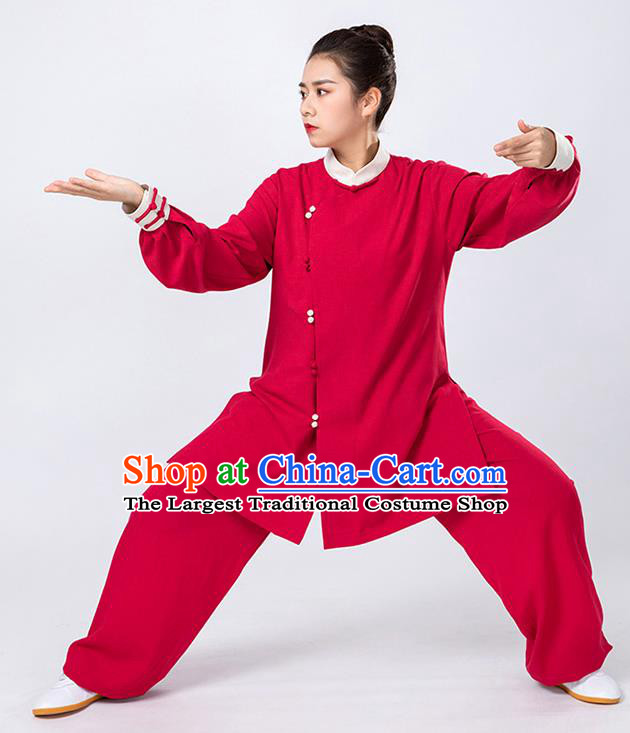 Top Tai Chi Kung Fu Red Outfits Chinese Traditional Martial Arts Competition Costumes for Women