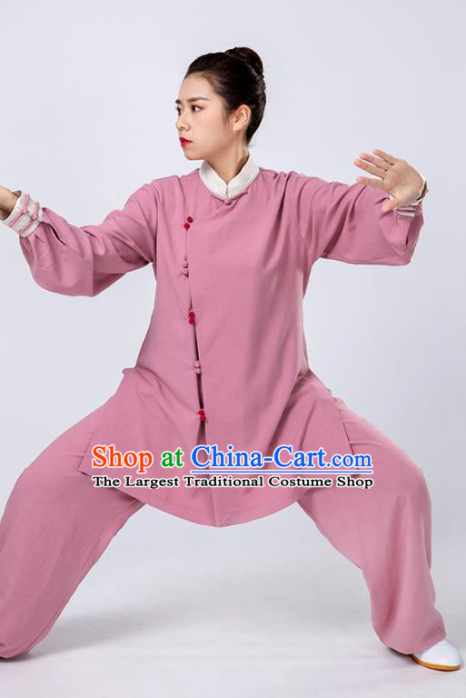 Top Tai Chi Kung Fu Lilac Outfits Chinese Traditional Martial Arts Competition Costumes for Women