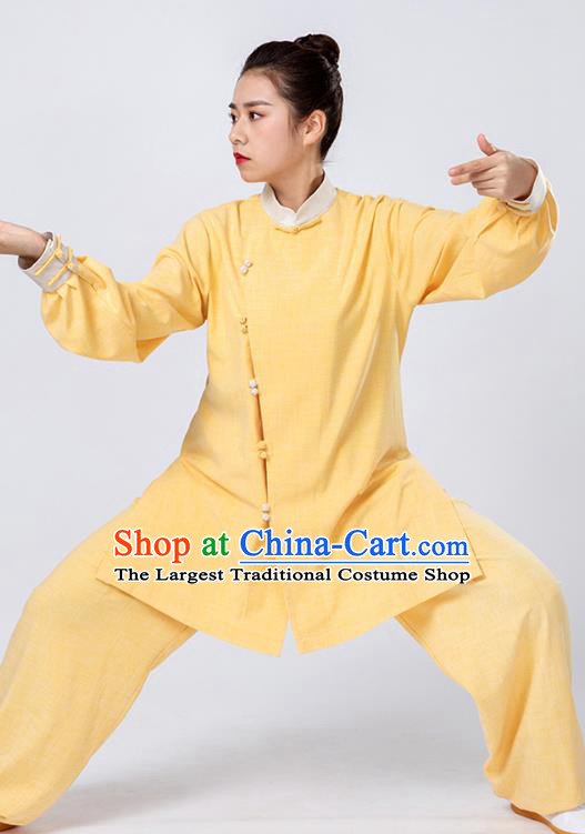 Top Tai Chi Kung Fu Yellow Outfits Chinese Traditional Martial Arts Competition Costumes for Women