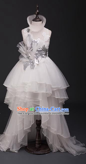 Top Children Cosplay Princess White Trailing Full Dress Compere Catwalks Stage Show Dance Costume for Kids