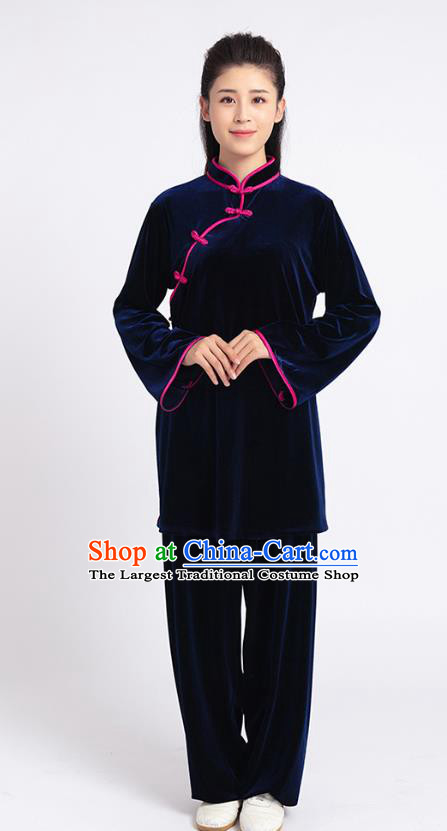 Top Tai Chi Kung Fu Competition Navy Pleuche Outfits Chinese Traditional Martial Arts Costumes for Women