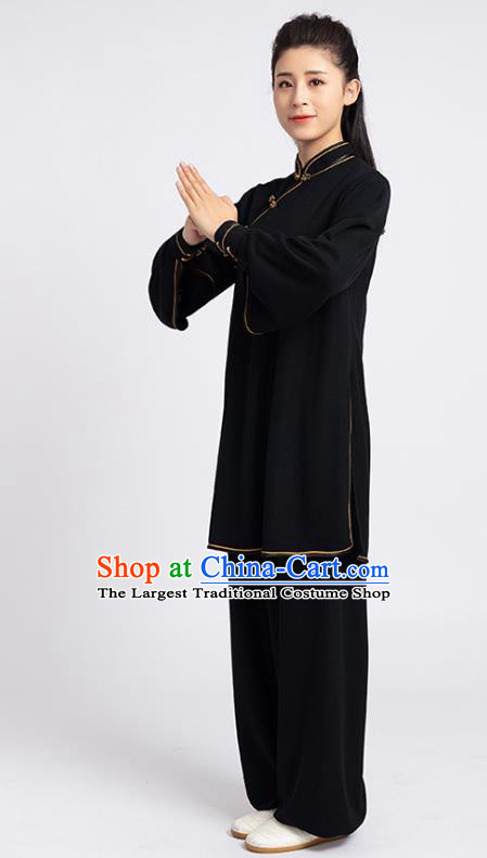 Top Chinese Tai Chi Kung Fu Black Outfits Traditional Martial Arts Competition Costumes for Women