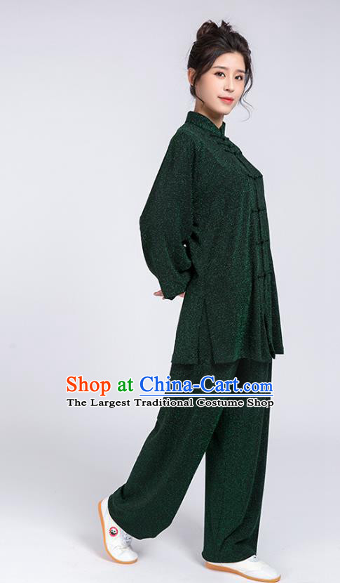 Top Chinese Tai Chi Training Green Outfits Traditional Kung Fu Martial Arts Competition Costumes for Women