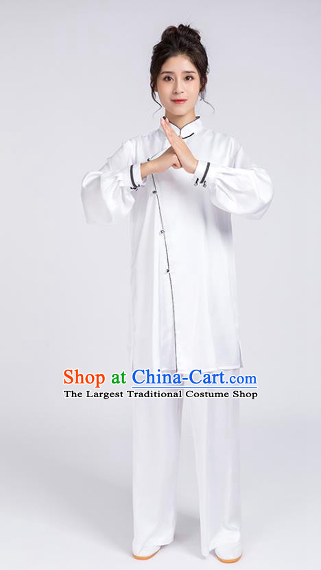 Top Chinese Martial Arts Black Edge Outfits Traditional Tai Chi Kung Fu Training Costumes for Women
