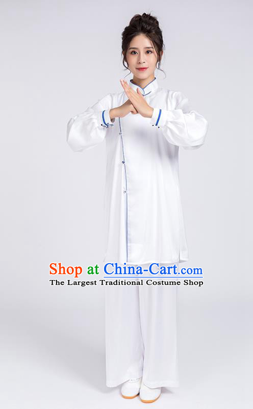 Top Chinese Martial Arts Blue Edge Outfits Traditional Tai Chi Kung Fu Training Costumes for Women