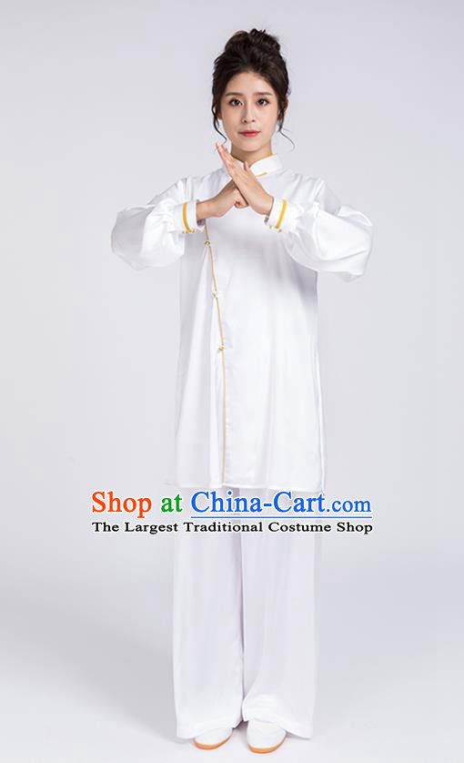 Top Chinese Martial Arts Yellow Edge Outfits Traditional Tai Chi Kung Fu Training Costumes for Women