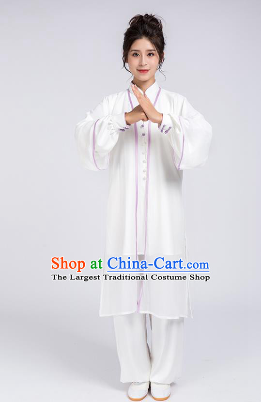 Top Chinese Martial Arts Lilac Edge Outfits Traditional Tai Chi Kung Fu Training Costumes for Women