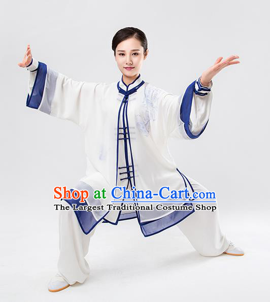 Top Chinese Martial Arts Printing Blue Outfits Traditional Tai Chi Kung Fu Training Costumes for Women