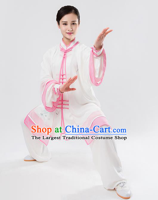 Top Chinese Martial Arts Printing Pink Outfits Traditional Tai Chi Kung Fu Training Costumes for Women