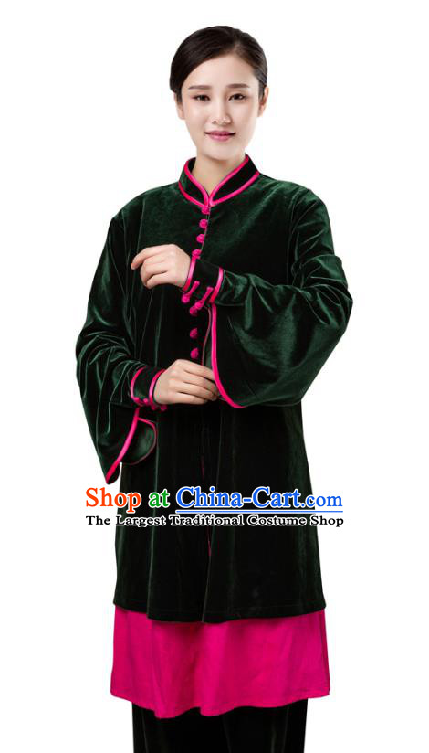 Top Chinese Martial Arts Atrovirens Pleuche Outfits Traditional Tai Chi Kung Fu Training Costumes for Women