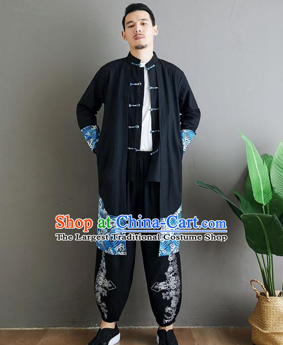Top Chinese Tang Suit Black Flax Coat Traditional Tai Chi Kung Fu Costume for Men