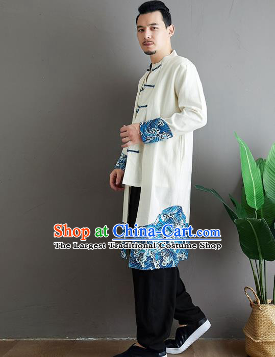 Top Chinese Tang Suit White Flax Coat Traditional Tai Chi Kung Fu Costume for Men