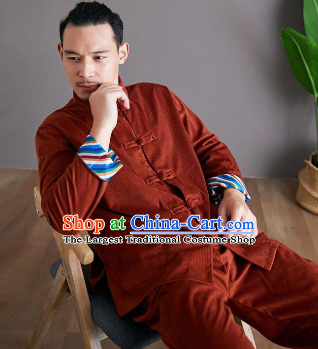 Chinese Martial Arts Rust Red Corduroy Outfits Traditional Tai Chi Kung Fu Training Costumes for Men