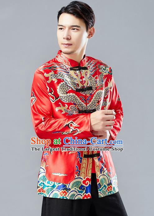 Top Chinese Tang Suit Printing Red Coat Traditional Tai Chi Kung Fu Overcoat Costume for Men