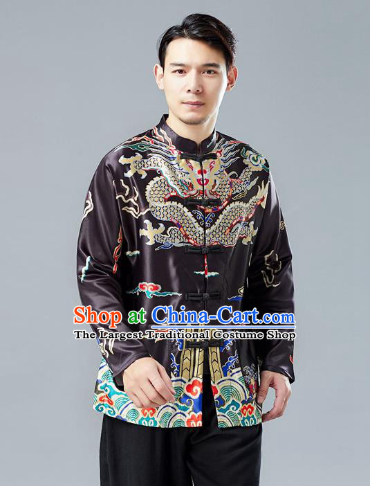 Top Chinese Tang Suit Printing Black Coat Traditional Tai Chi Kung Fu Overcoat Costume for Men