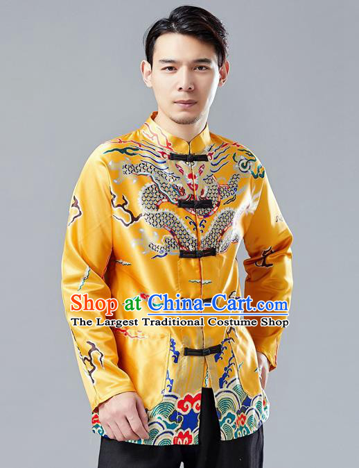 Top Chinese Tang Suit Printing Yellow Coat Traditional Tai Chi Kung Fu Overcoat Costume for Men