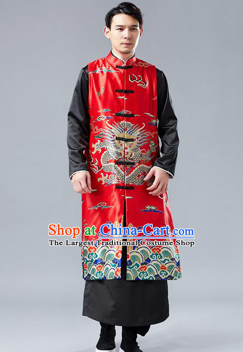 Chinese Tang Suit Printing Dragon Red Long Vest Traditional Tai Chi Kung Fu Overcoat Upper Outer Garment Costume for Men