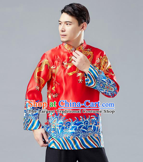 Top Chinese Tang Suit Printing Dragon Red Jacket Traditional Tai Chi Kung Fu Overcoat Costume for Men