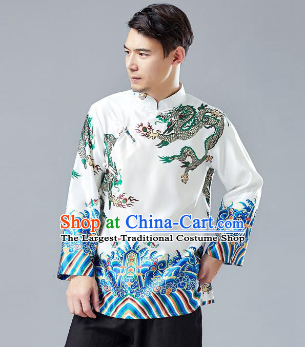 Top Chinese Tang Suit Printing Dragon White Jacket Traditional Tai Chi Kung Fu Overcoat Costume for Men