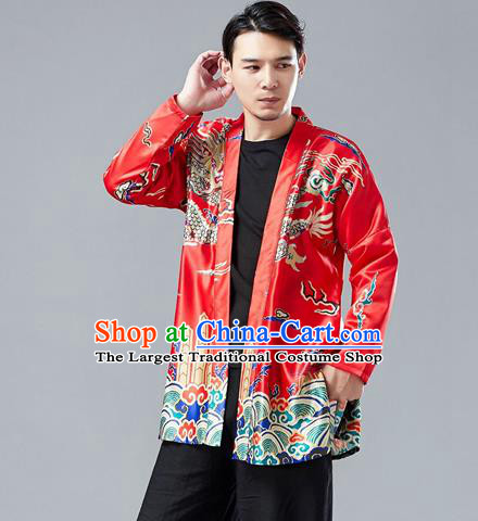 Top Chinese Tang Suit Printing Dragon Red Cardigan Traditional Tai Chi Kung Fu Jacket Costume for Men