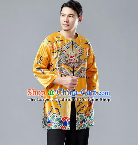 Top Chinese Tang Suit Printing Dragon Yellow Satin Cardigan Traditional Tai Chi Kung Fu Jacket Costume for Men