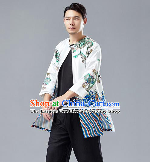 Top Chinese Tang Suit Printing Dragon White Satin Cardigan Traditional Tai Chi Kung Fu Jacket Costume for Men