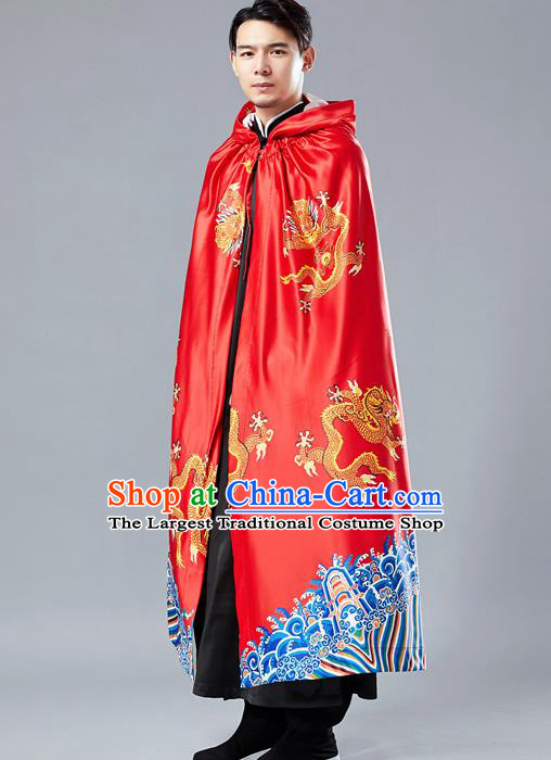 Top Chinese Tang Suit Printing Dragon Red Cape Traditional Tai Chi Kung Fu Cloak Costume for Men