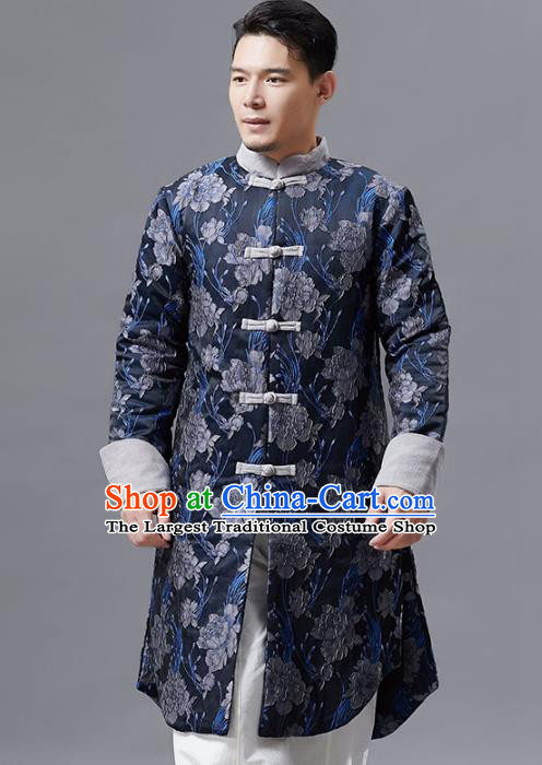 Top Chinese Tang Suit Printing Navy Coat Traditional Tai Chi Kung Fu Overcoat Costume for Men