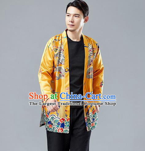 Top Chinese Tang Suit Printing Dragon Yellow Cardigan Traditional Tai Chi Kung Fu Jacket Costume for Men