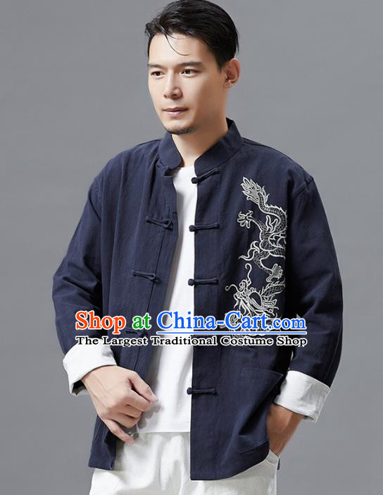 Top Chinese Tang Suit Embroidered Navy Flax Jacket Traditional Tai Chi Kung Fu Overcoat Costume for Men