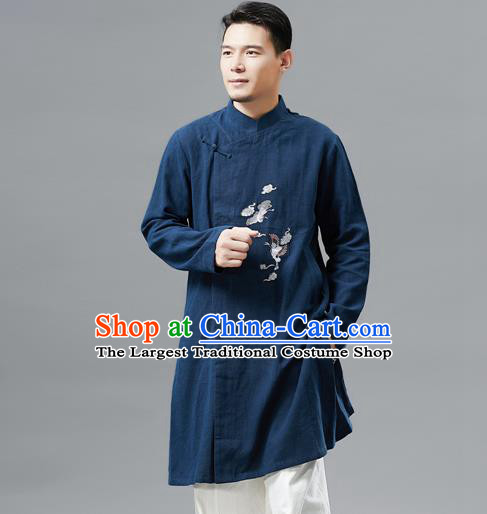 Top Chinese Tang Suit Embroidered Crane Navy Flax Jacket Traditional Tai Chi Kung Fu Overcoat Costume for Men