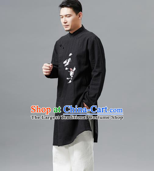 Top Chinese Tang Suit Embroidered Crane Black Flax Jacket Traditional Tai Chi Kung Fu Overcoat Costume for Men