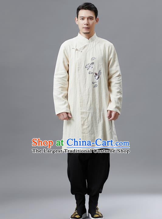 Top Chinese Tang Suit Embroidered Crane Beige Flax Jacket Traditional Tai Chi Kung Fu Overcoat Costume for Men