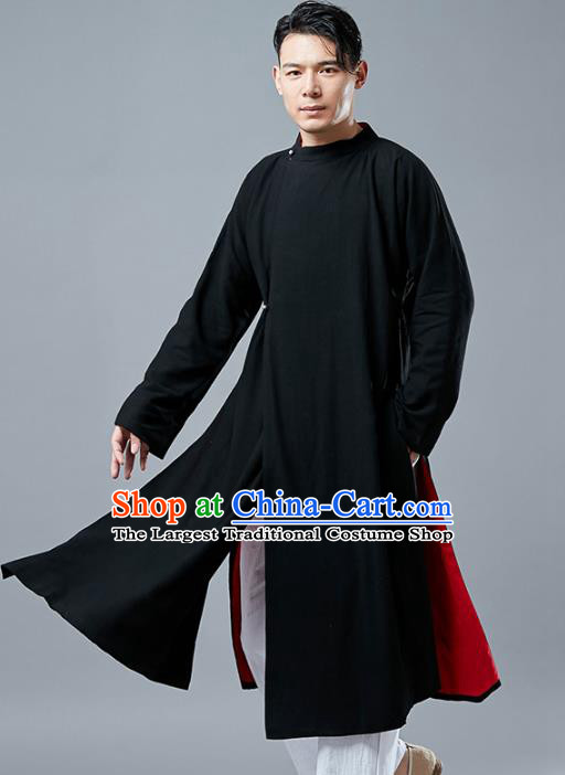Top Chinese Tang Suit Black Long Coat Traditional Tai Chi Kung Fu Overcoat Costume for Men