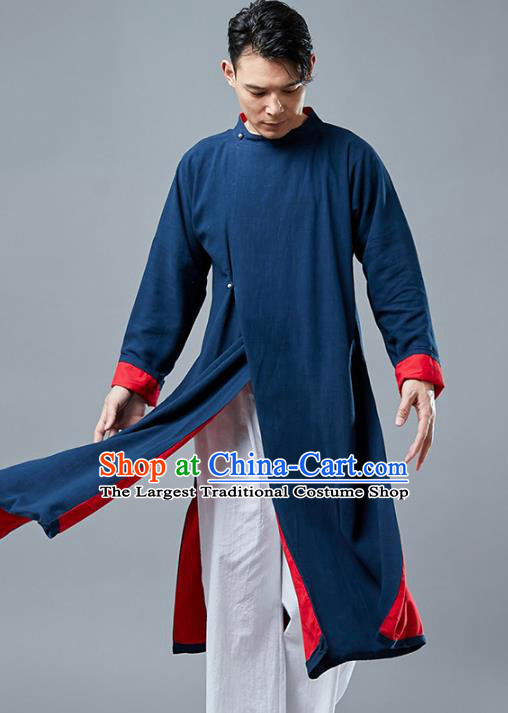 Top Chinese Tang Suit Navy Long Coat Traditional Tai Chi Kung Fu Overcoat Costume for Men