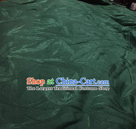 Chinese Traditional Leaf Design Pattern Deep Green Silk Fabric Cheongsam Mulberry Silk Drapery