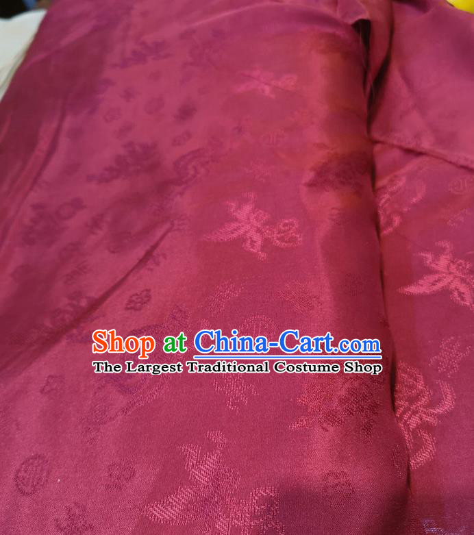Chinese Traditional Jacquard Design Pattern Wine Red Silk Fabric Cheongsam Mulberry Silk Drapery
