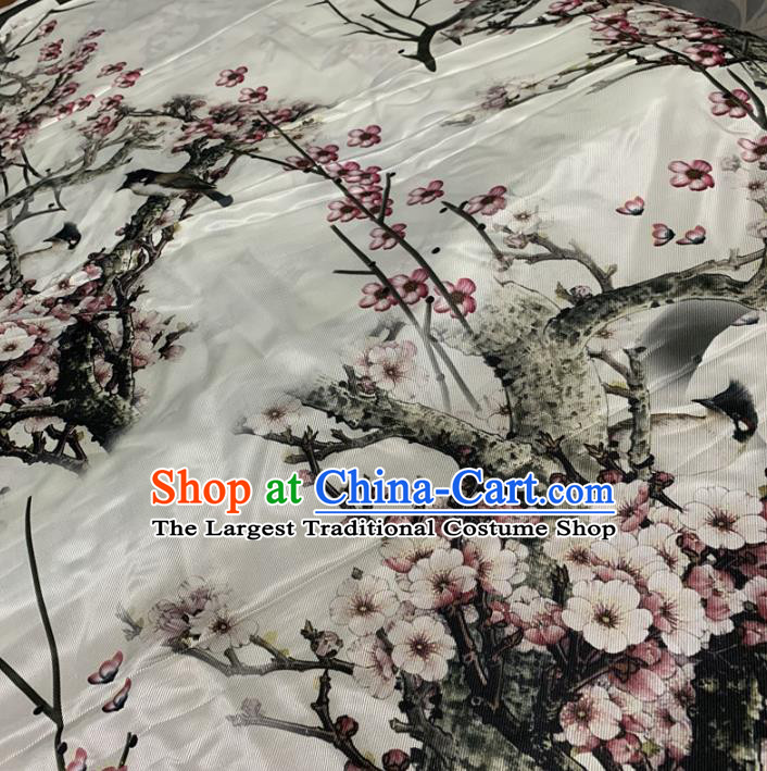 Chinese Traditional Plum Blossom Design Pattern White Silk Fabric Cheongsam Mulberry Silk Drapery