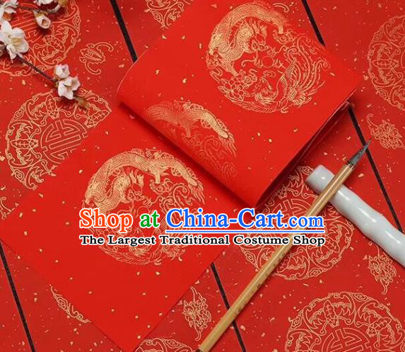 Chinese Traditional Phoenix Dragon Pattern Calligraphy Red Art Paper Handmade New Year Couplet Writing Xuan Paper