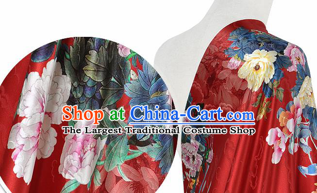 Chinese Classical Peony Pattern Design Red Silk Fabric Asian Traditional Hanfu Mulberry Silk Material