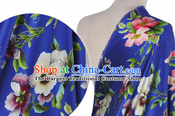 Chinese Classical Phalaenopsis Pattern Design Royalblue Silk Fabric Asian Traditional Hanfu Mulberry Silk Material