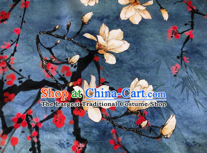 Chinese Classical Yulan Magnolia Pattern Design Navy Silk Fabric Asian Traditional Hanfu Mulberry Silk Material