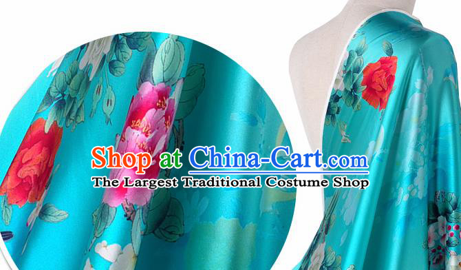 Chinese Classical Magnolia Pattern Design Blue Silk Fabric Asian Traditional Hanfu Mulberry Silk Material