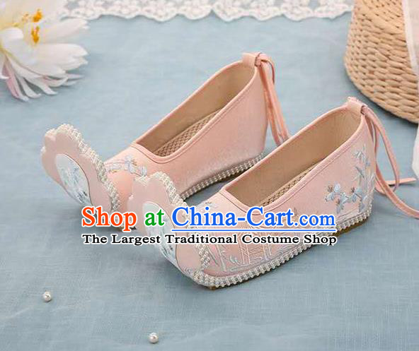 Chinese Pink Hanfu Shoes Women Shoes Opera Shoes Embroidered Shoes Princess Shoes