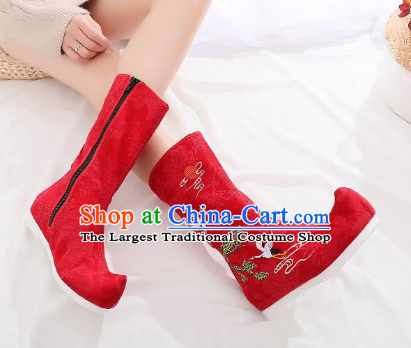 Traditional Chinese Kung Fu Red Boots Opera Shoes Hanfu Shoes Embroidered Crane Boots for Women