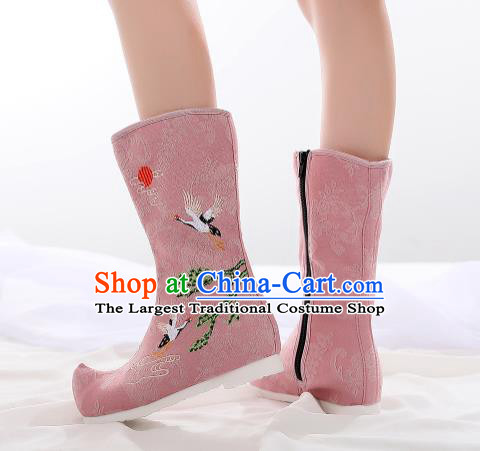 Traditional Chinese Kung Fu Pink Boots Opera Shoes Hanfu Shoes Embroidered Crane Boots for Women