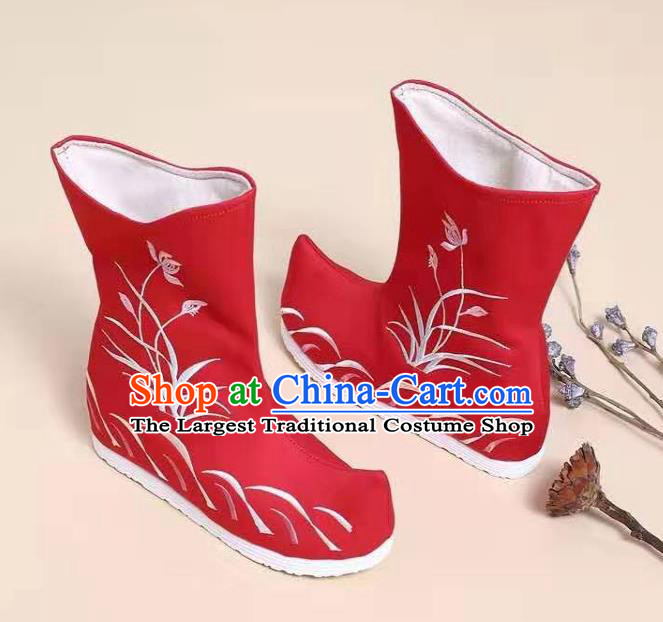 Traditional Chinese Embroidered Orchid Red Boots Kung Fu Boots Opera Shoes Hanfu Shoes for Women