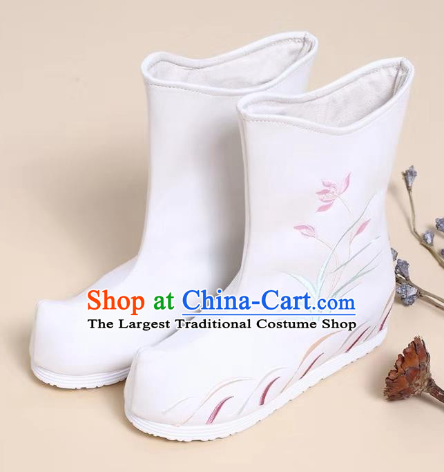 Traditional Chinese Embroidered Orchid White Boots Kung Fu Boots Opera Shoes Hanfu Shoes for Women